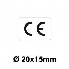 CE Zeichen 20 x 15 mm weiss