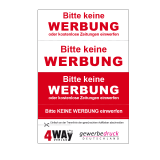 4er Aufkleber KEINE WERBUNG  für Briefkasten