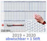 XXL Urlaubsplaner 2019 + 2020 mit Stift bis 25 Personen