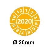 Jahresplaketten Ø 20 mm 2020 Gelb