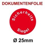 Sicherheitssiegel Dokumentenfolie Ø25 rot