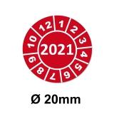 Jahresplaketten Ø 20 mm 2021 Rot